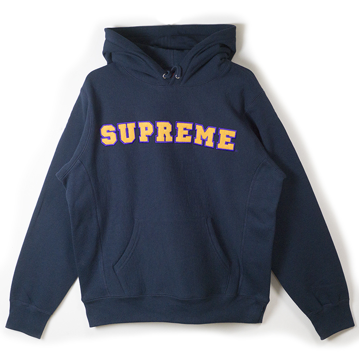 Supreme / シュプリームCord Collegiate Logo Hooded Sweatshirt / コード カレッジ ロゴ フーデッド スウェットシャツNavy / ネイビー 紺2018SS 国内正規品 新古品【中古】