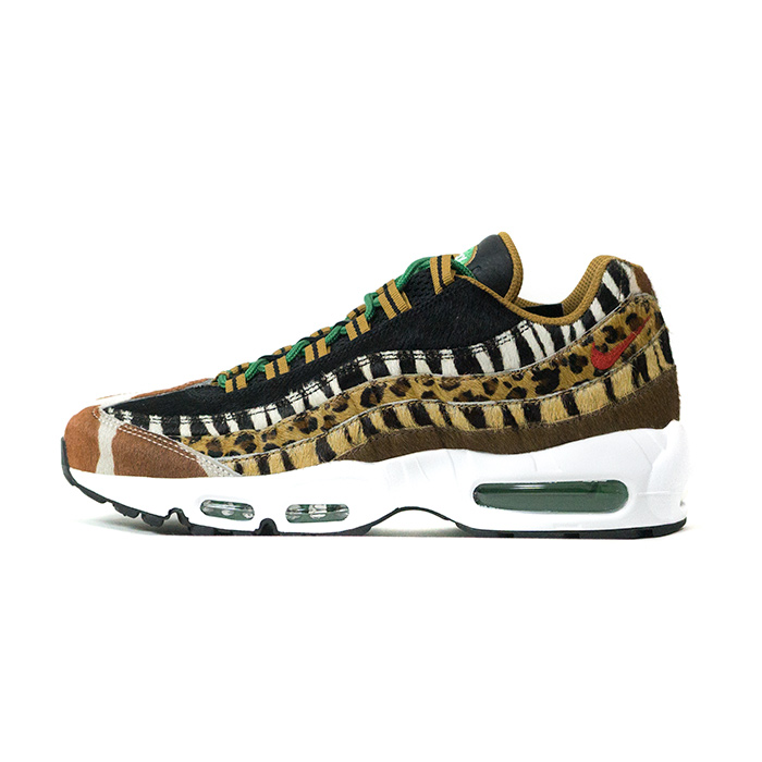 atmos X NIKE atto MOS Nike AIR MAX 95 DLX ANIMAL PACK Air Max 95 deluxe animal pack WheatBison Classic Green Sport Red