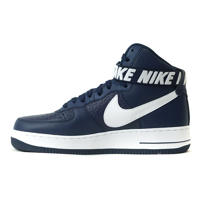 navy blue high top air force ones