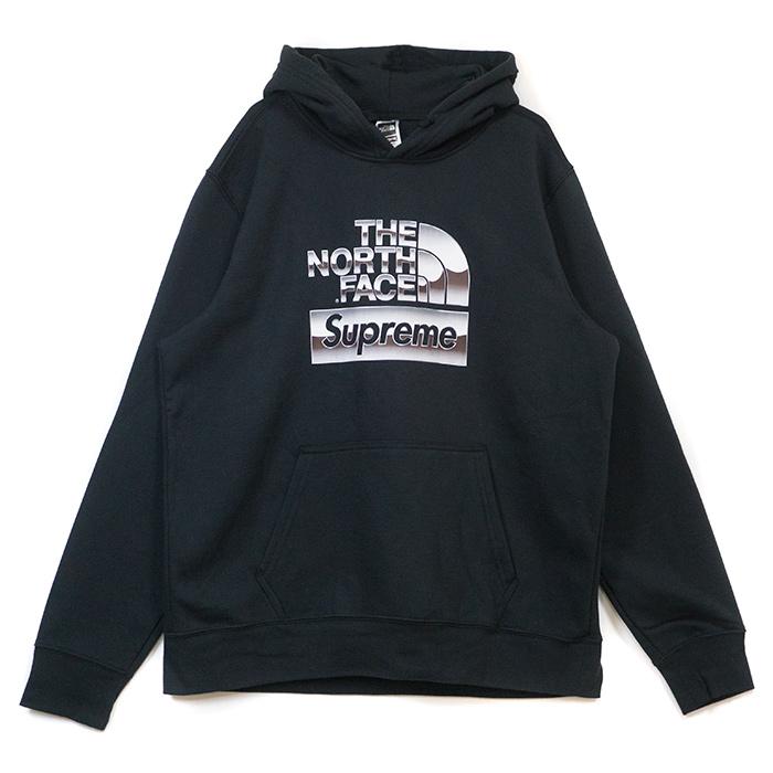 Supreme × The North Face /シュプリーム × ザ ノース フェイスMetallic Logo Hooded Sweatshirt /メタリック ロゴ フーデッド スウェットシャツ パーカーBlack / ブラック 黒2018SS 国内正規品 新古品【中古】