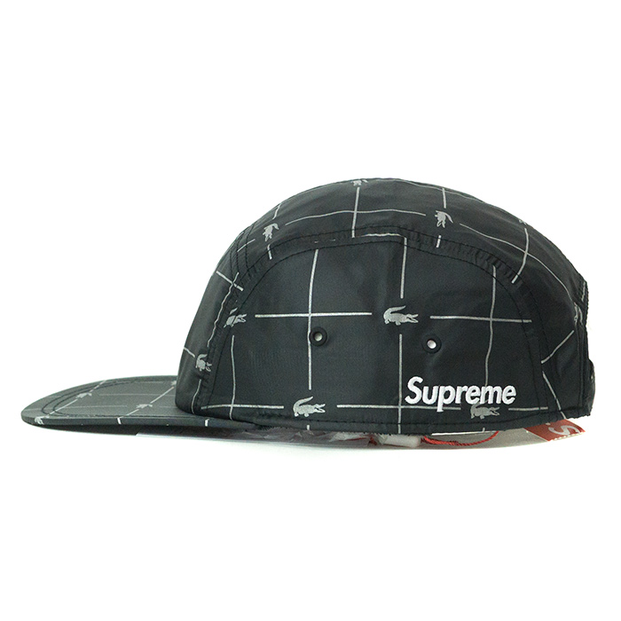 Supreme x LACOSTE   シュプリームラコステ Reflective Grid Nylon Camp Cap   reflective  grid nylon camping cap Black   black black 2018SS domestic regular ... ea3356843a8