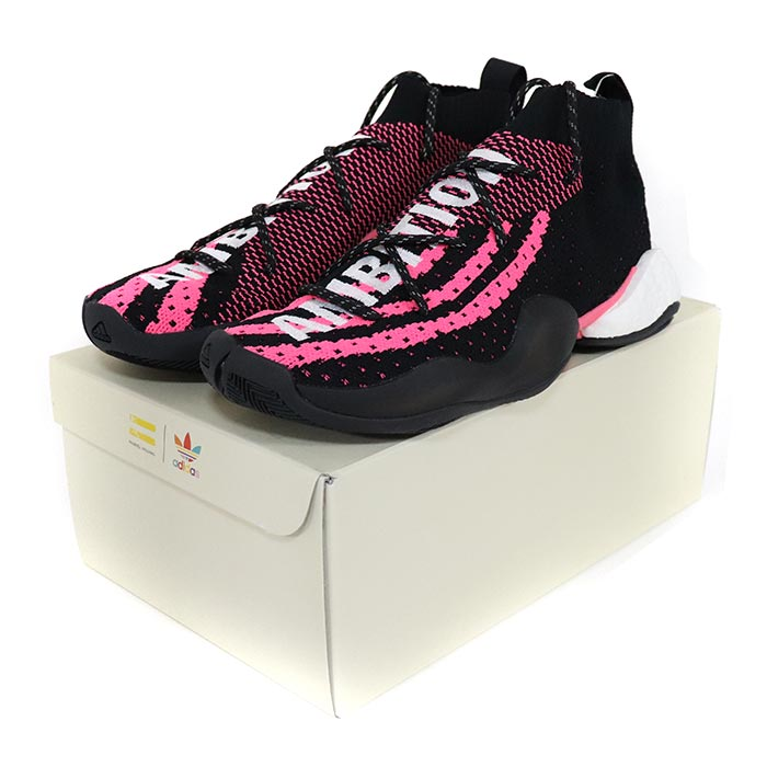 best service 66c73 09830 Pharrell Williams X adidas Originals  Farrell Williams X Adidas CRAZY BYW  LVL X PW Core BlackFootwear White-Solar Pink  コアブラックフットウェアー ...