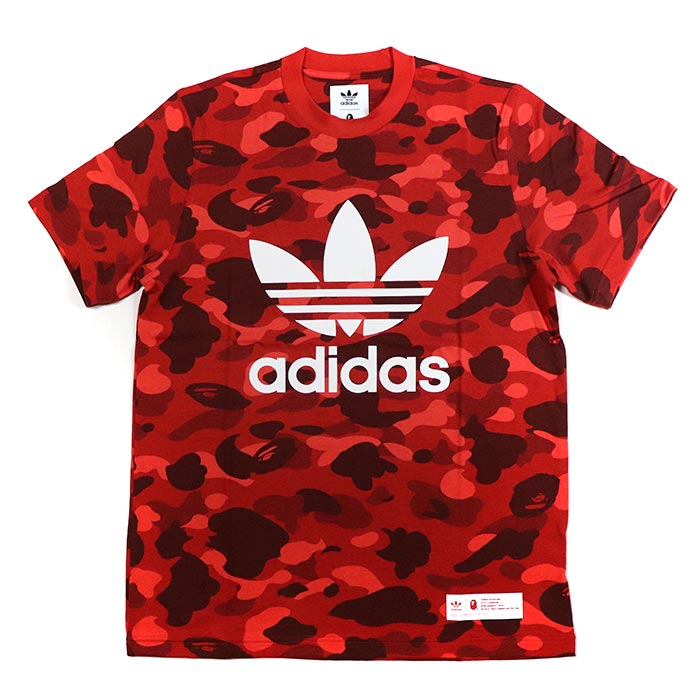 buy popular c35a0 b0c70 A BATHING APE BAPE x adidas / ベイシングエイプベイプアディダス CAMO TEE / duck T-shirt  RAWRED / red red camouflage domestic regular article old and new things  product