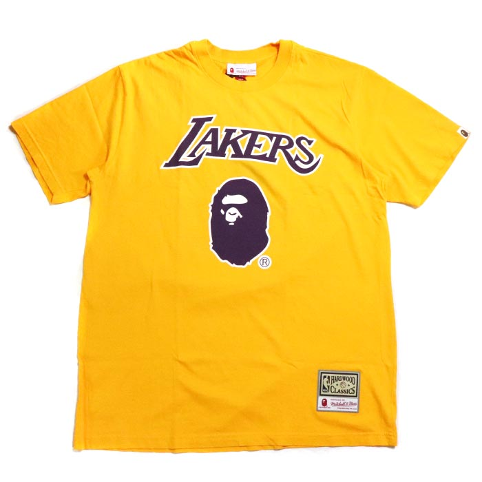 7802f343 PALM NUT: A BATHING APE BAPE / ベイシングエイプベイプ LAKERS TEE / Lakers T-shirt  YELLOW / yellow yellow NBA 2018AW domestic regular article old and new ...