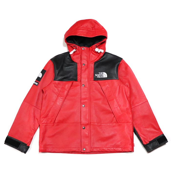 Supreme × The North Face /シュプリーム × ザ ノース フェイスLeather Mountain Parka /レザー マウンテン パーカー Red / レッド 赤TNF 2018AW 国内正規品 新古品【中古】