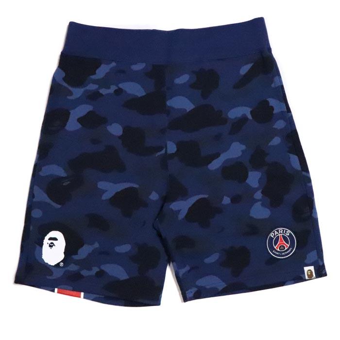 size 40 48b8b ae68b BAPE / A BATHING APE X PSG / ベイプベイシングエイプ x ピーエスジーパリ Saint-Germain SWEAT  SHORTS / sweat shirt shorts NAVY / navy dark blue 2018AW domestic regular  ...