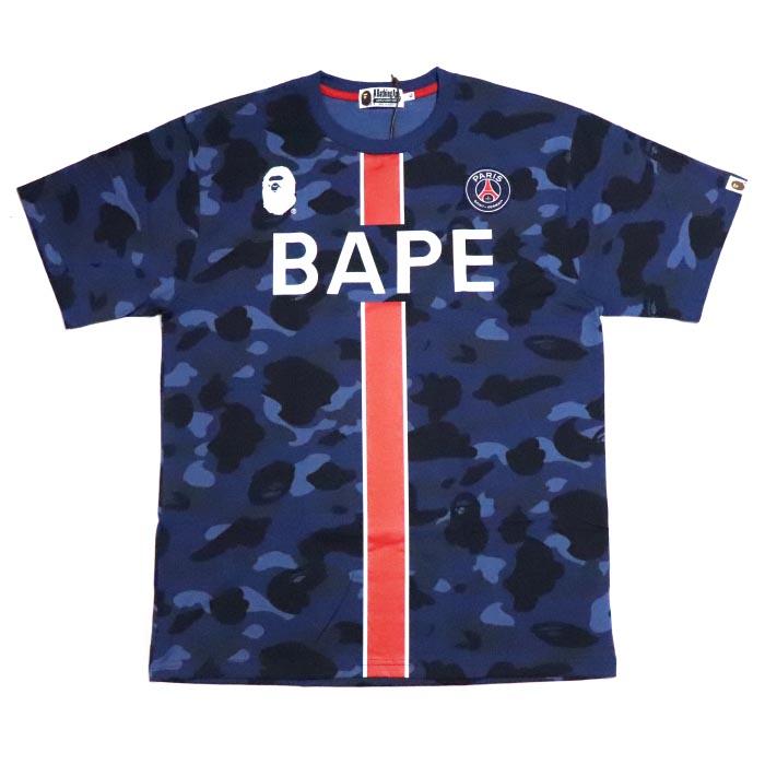 f7793e1e5 PALM NUT: BAPE / A BATHING APE X PSG / ベイプベイシングエイプ x ピーエスジーパリ Saint-Germain  PSG CAMO TEE / duck T-shirt NAVY / navy dark blue 2018AW ...