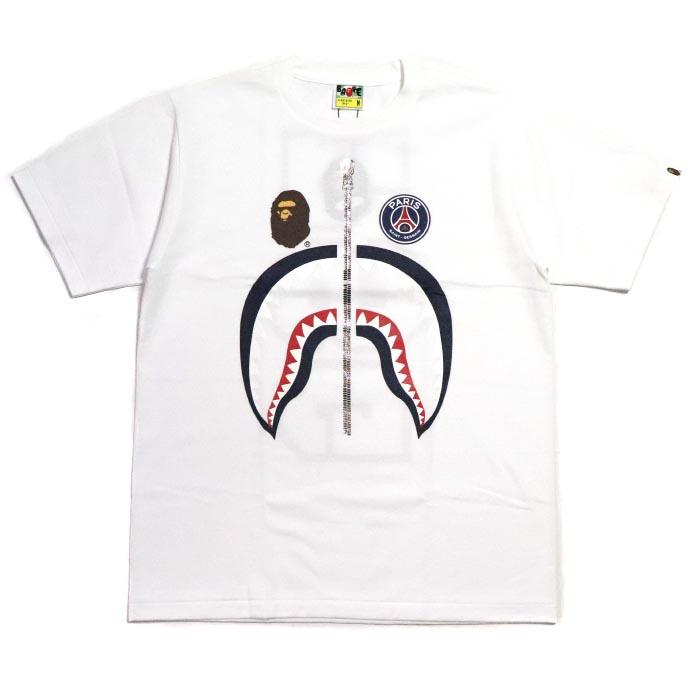brand new c0135 f21ce BAPE / A BATHING APE X PSG / ベイプベイシングエイプ x ピーエスジーパリ Saint-Germain PSG SHARK  TEE / shark T-shirt WHITE / white white 2018AW domestic regular article ...