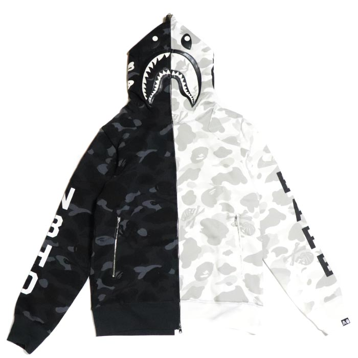 ab125896d PALM NUT: A BATHING APE / BAPE x NEIGHBORHOOD / ベイシングエイプベイプネイバーフッド NHBP. CAMO  SHARK ZIP HOODED / duck shark zip hooded parka BLACK / black ...