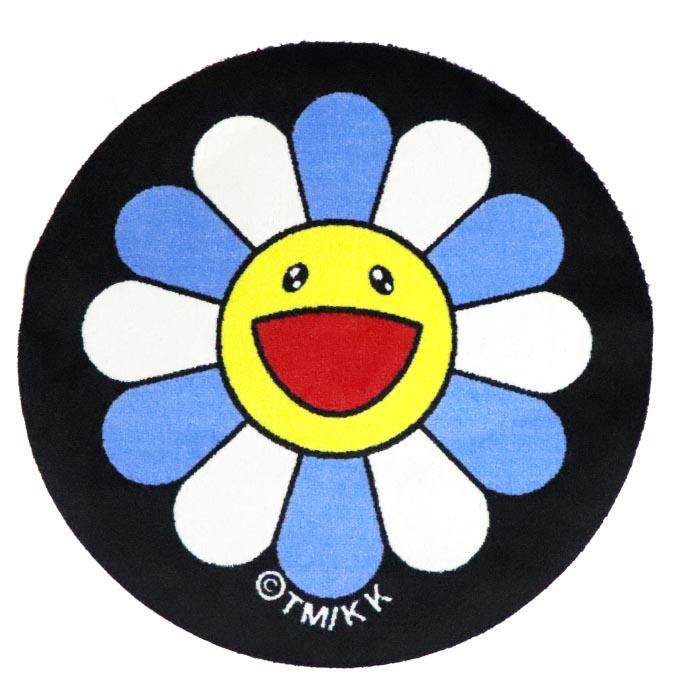 2018AW Takashi Murakami Round Floor Mat (Flower) Blue X White