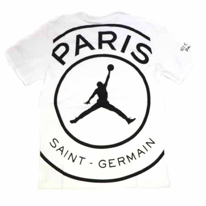 new style 3e953 055ed NIKE X PSG Paris Saint-Germain / Nike Paris Saint-Germain Circle Logo  T-Shirt / circle logo T-shirt White / white white Air Jordan Back print  back ...