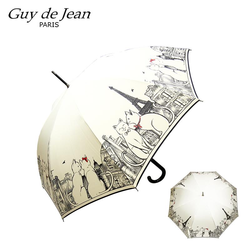 【並行輸入品】Guy de Jean ギ・ドゥ・ジャン 長傘 Calin caline ギ・ド・ジャン 傘 カサ かさ 日傘 雨傘 レディース ブランド 長傘 高級 送料無料 あす楽 おしゃれ フランス ブランド 送料込み 雨 ブラック キナリ 黒 白 猫 かわいい エッフェル