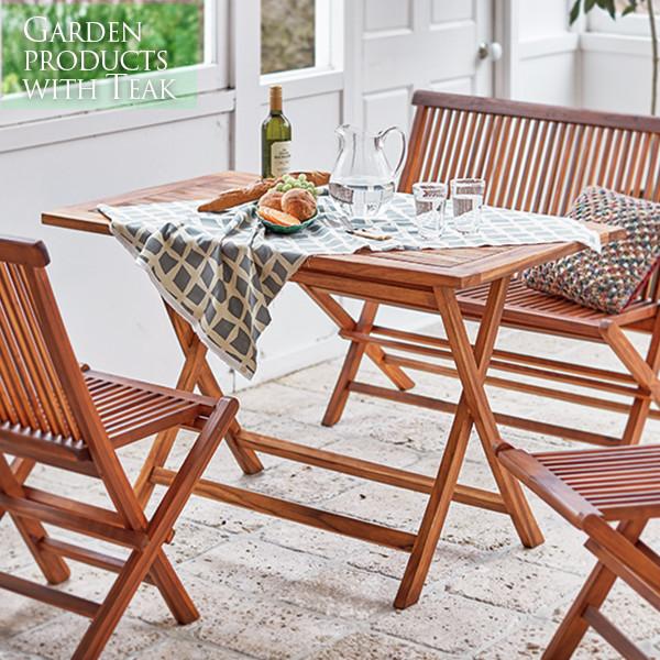 ガーデンファニチャー ガーデン テーブル 折りたたみ 折りたたみ式 長方形 テーブル単品 専門店 机 驚きの価格が実現 120x70 チークガーデンテーブル