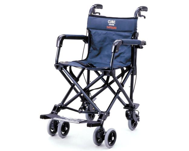 車椅子 軽量 折り畳み 携帯用車椅子 CUBE530(キューブ530)紺 リーマン車椅子 車いす 車イス 介護用品 旅行 お出かけ 簡易車いす 携帯車いす バギータイプ