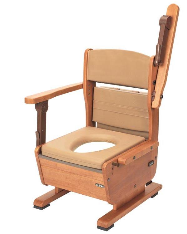 木製ポータブルトイレ さわやかチェアPT/8221 肘掛はね上げタイプ ウチヱ 【smtb-kd】【介護用品】