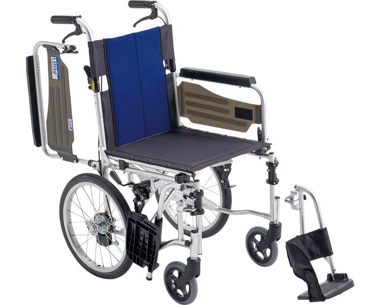 車いす 折り畳み スタンダード車いす ウイングスイングアウト機構 アルミ製介助式車椅子 BAL-4 ミキ車椅子 車イス 介護用品 軽量 折りたたみ ひじ掛け跳ね上げ はね上げ
