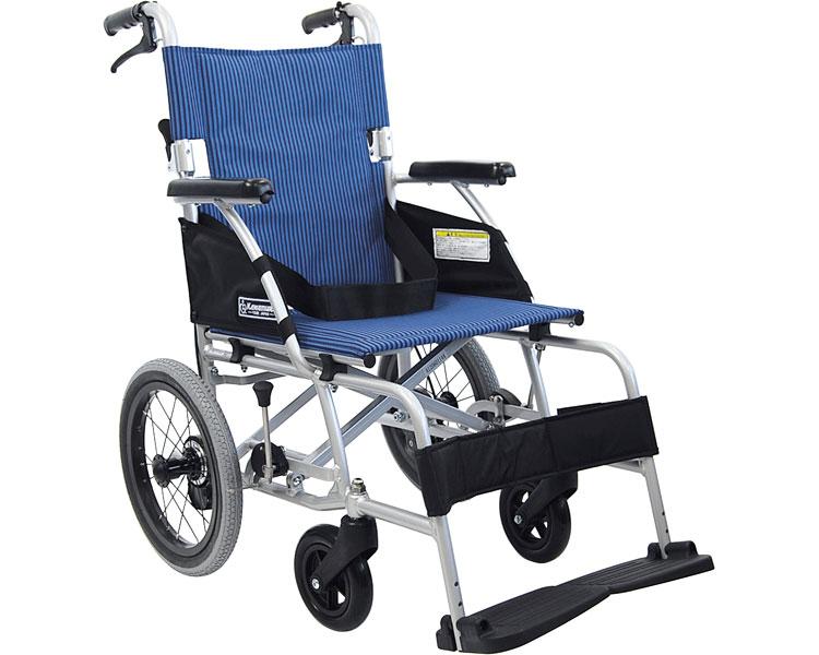 軽量ベーシックモジュールアルミ車いす 介助用 BML14-40SB カワムラサイクル送料無料 介護用品 介助式車椅子 車イス 歩行補助 ストライプ柄