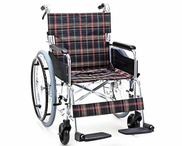 アルミ自走用ワイドタイプ車いす 背折れタイプ KS50-4643 マキテック車椅子 車イス くるまいす 介護用品