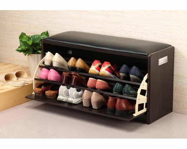 腰かけ付シューズラック 100263 L キヨタ高齢者 靴箱 靴棚 腰痛軽減 座って靴を履く 立ち上がり 介護用品