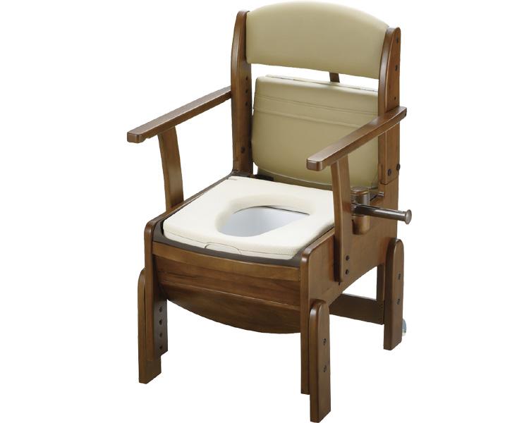木製トイレ きらくコンパクト 18520 やわらか便座 リッチェル家具調トイレ ポータブルトイレ きらく ソフト便座 トイレ用品 介護 排泄 介護用品