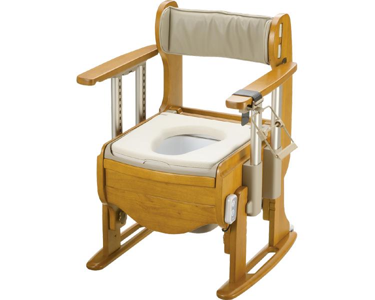 木製トイレ きらく座優 肘掛昇降/18720 やわらか脱臭便座 リッチェル 【介護用品】【smtb-kd】