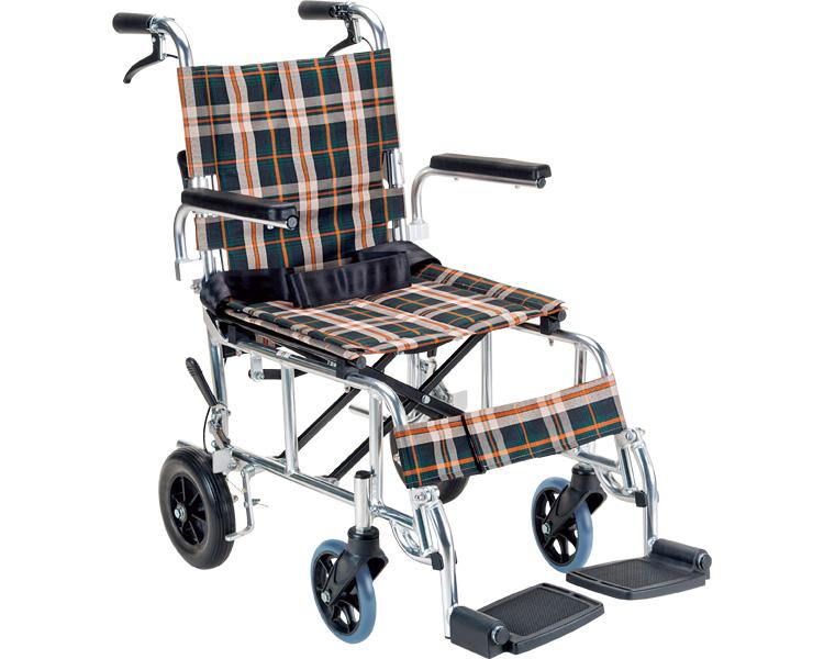 コンパクト車いす PIRO N(ピロエヌ)PR-501 茶チェック マキテック車椅子 車イス 軽量 歩行補助 介護用品