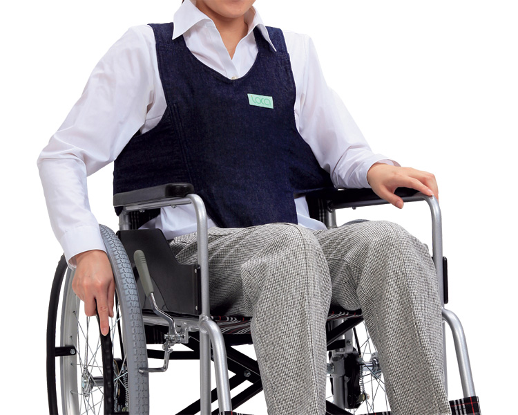 車いす用ワンタッチベルト キーパーEX(デニム) ネイビー 403655-381 フットマーク介護用品 座位保持具 車いす用ベルト 車椅子用