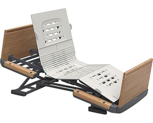 楽匠Z 2モーション 木製ボード 脚側 高 スマートハンドル付/KQ-7223S 91cm幅 ミニ パラマウントベッド 【介護用品】