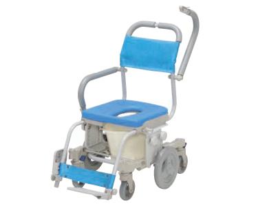 シャワーキャリー シャトレチェア6輪 O型バケツ付 SW-6083 ウチヱ6輪シャワーキャリー シャワー車椅子 簡易トイレ コンパクト 小回り 介護用品 福祉用具 入浴補助