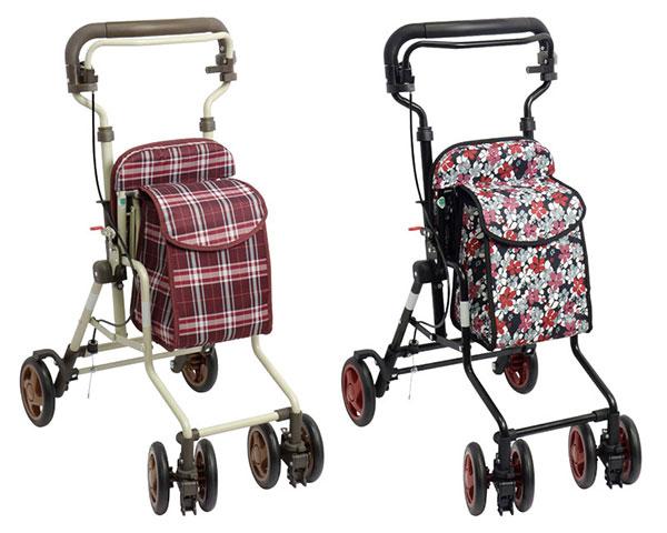 シルバーカー モート 島製作所手押し車 老人 高齢者 歩行補助 歩行器 歩行車 介護用品 チェック柄 花柄 送料無料