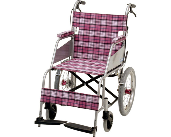 介助式超軽量車いす KARL(カール) KW-903P ピンクチェック 片山車椅子製作所車椅子 車いす 軽量 折り畳み 介護用品