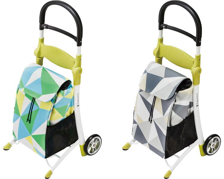 ショッピングカート スマイルキャリー 118000 118001 竹虎ヒューマンケア買い物バッグ キャリーバッグ 手押し車 椅子付き オシャレ 幾何学模様 移動補助 介護用品