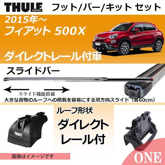 2015年~ フィアット 500X(ダイレクトレール付車)にベースキャリアを取り付けできるパック【Thule キャリアベースセット】ラピッドシステムTH753+スライドバーTH891+取り付けキットTH4043の3点セット