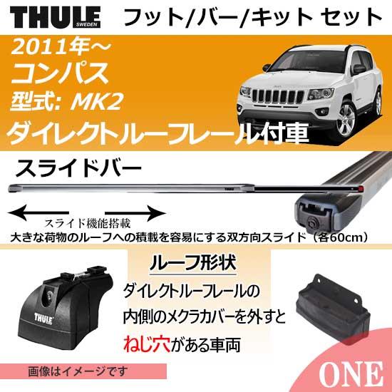 2011年から クライスラー・ジープ ジープ・コンパス(MK2)ダイレクトルーフレール付車にベースキャリアを取り付けできるパック【Thule キャリアベースセット】TH753+TH891+取り付けキットTH3097の3点セット