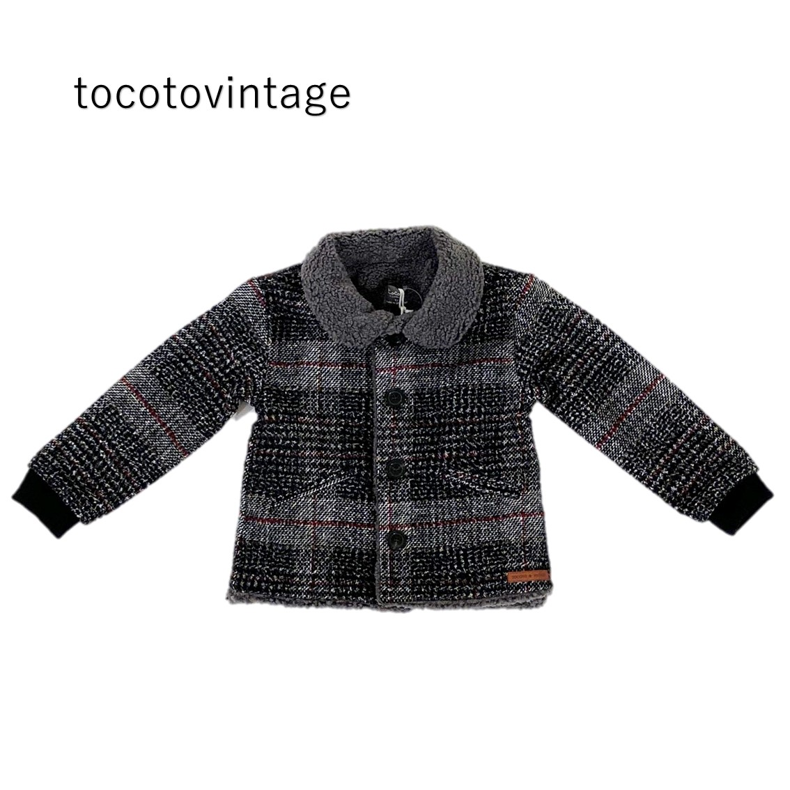 20AW tocotovintage W60920 Oversize plaid baby coatwith sheepskin lapel