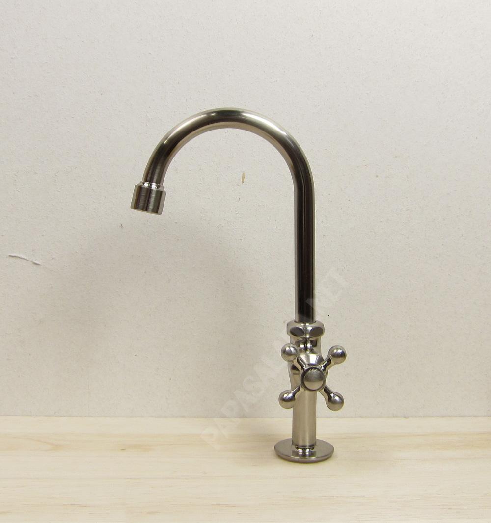 グースネック立水栓(ニッケル)|手洗器用トイレの蛇口