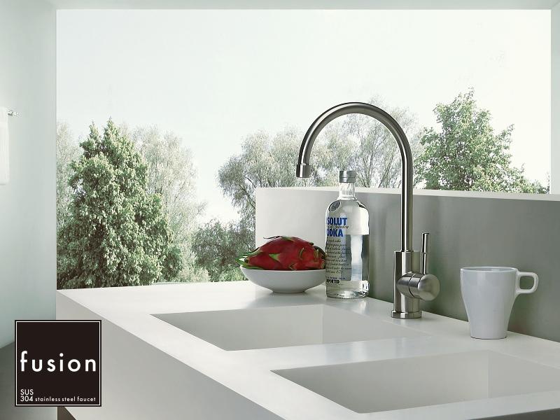 【fusion水栓金具】SSK192 ステンレス製 シングルレバーキッチン混合栓 スワン型蛇口