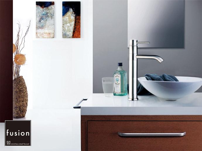 【fusion水栓金具】SSL166 / ステンレス・シングルレバー洗面用混合栓(ハイトール360°回転)|置き型洗面ボウル用の蛇口