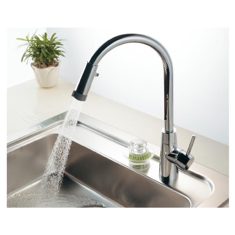 117-127 キッチン用節水蛇口 給湯制限付シングルレバー混合栓(シャワー付)一般地用