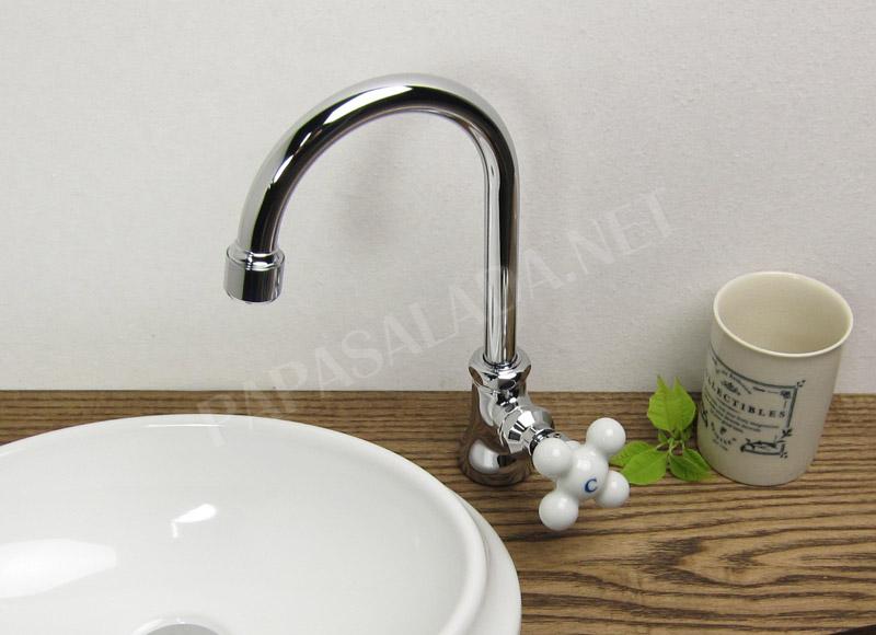 PIVOT(ピヴォ) スワン 水栓 十字ハンドル 手洗器 洗面ボウル トイレ手洗い用 おしゃれ かわいい 蛇口