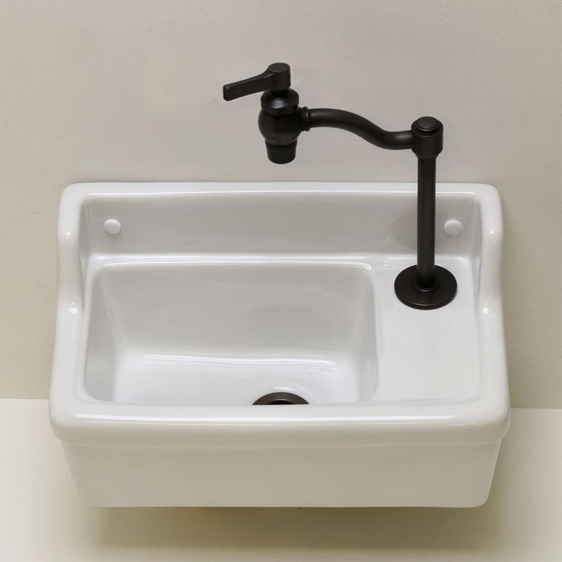 エッセンス 蛇口 立豆栓(ブロンズ) 壁掛け手洗器 Sレクタングル× 排水金具3点セット トイレ手洗い 洗面台