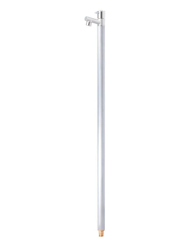 蛇口一体型デザイン水栓柱 / アクアマール(ヘアライン)|スタイリッシュ立水栓(固定コマ)ジラーレ