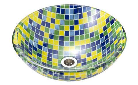 【AQUA】タイル(Lサイズ)|ガラス手洗い器。ガラスの洗面ボウル