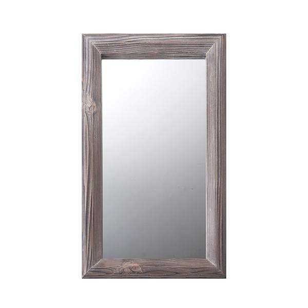 縦でも横でも使える 素朴でかわいい鏡 ハンドメイド木製ミラー (ブラウン)
