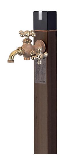 【送料無料】不凍水栓柱キューブ/トラッドパイン(呼び長さ:1.0m)×双口万能胴長水栓(鋳肌)セット
