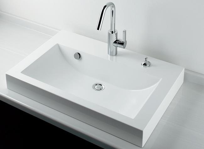 493-070-750H 角型半埋洗面器(ワイド750mm)カウンターポップアップ付|デザイン洗面ボール