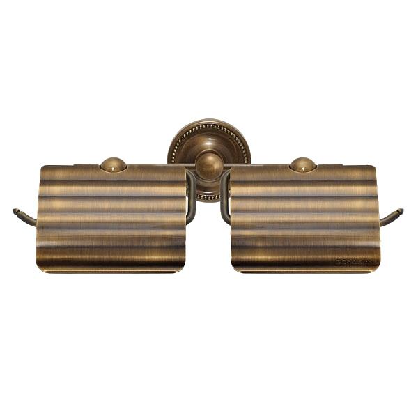 【キャンペーン期間中ポイント5倍】640623 お洒落な真鍮製ダブルトイレットペーパーホルダー(アンティークブラス)|アンティーク調ダークブラウン