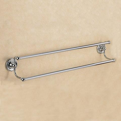 640733 おしゃれな真鍮製タオル掛け・ダブルタオルバー68(ヴィクトリアン・クロム)|アンティーク調シルバー色
