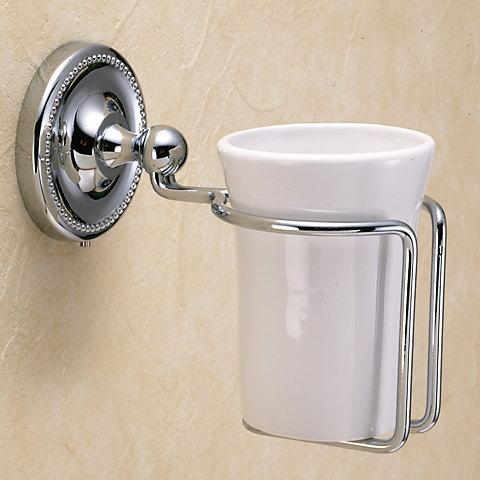 レトロ調 歯磨きコップ置き グラスホルダー 陶器 真鍮 シルバー色 ヴィクトリアン 640738 激安セール クロム アンティーク調 新登場
