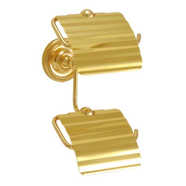 640788 おしゃれな真鍮製トイレットペーパーホルダーダブル縦型(ヴィクトリアン・ブラス)|金色